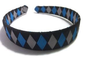 "Black, Blue, Silver 1"" Woven Headband - Handmade Ribbon Braided Headband - Made To Order - Silver, Blue, Black Headband"
