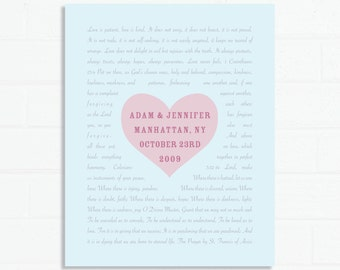 Customized Wedding Print -  wedding details along with vows, readings, poem or lyrics in a very sweet design