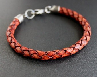 Mens Red Leather Braided Bracelet, Sterling Silver Clasp