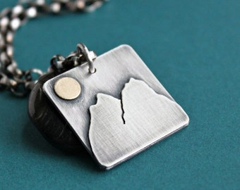Mountain Pendant Necklace, Sterling Silver Chain