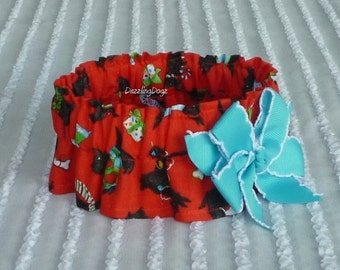 "Christmas Scotties Dog Scrunchie Collar - blue bow - Size S: 12"" to 14"" neck"