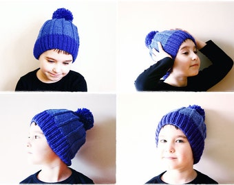 Comfrey - Ribbed Knit Pom Pom Hat Pattern - Easy Knitting Pattern - Knit Winter Hat - Slouchy Beanie Pattern - Child's Hat - For All Sizes