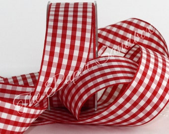 "Red Gingham Ribbon, Red & White Check Ribbon, 1.5"" wide by the yard, Christmas Ribbon, Gingham Trim, Hair Bow Ribbon, Home Decor"