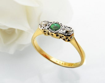 Antique Engagement Ring   Edwardian Emerald & Diamond Ring   18ct Gold and Platinum Ring   Trilogy Ring   May Birthstone - Small Ring Size 5