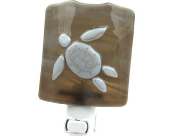 Night Light, Brown with White Turtle, Art Glass, Neutral Colors