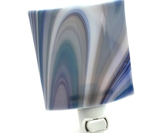 Night Light Plug In, Curvy Stripes, Blue and Gray Art Glass