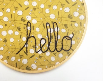 Hello Embroidery Hoop Decor