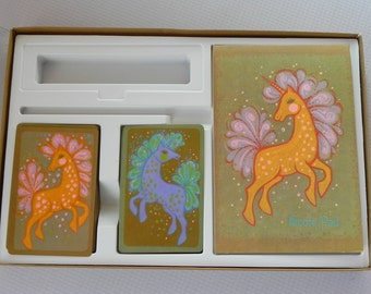Vintage Hallmark Playing Card Ensemble. Unicorn Design. 2 Decks of Cards and Score Pad in Original Box. Never Used.