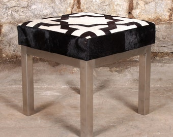Cowhide Ottoman - Stitched Hair On Hide w/Brushed Nickel Finish - 18 x 18 x 18 - Real Cowhide