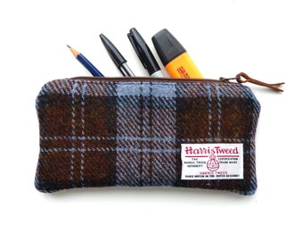 HARRIS TWEED Pencil Case in brown and blue check, classic design, traditional wool pouch