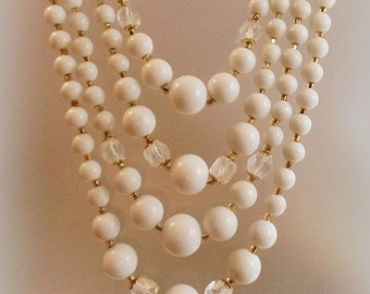 SALE Vintage Wedding White Glass Beaded Necklace. Japan. Four Strand Milk Glass and Austrian Crystal Bead Necklace.