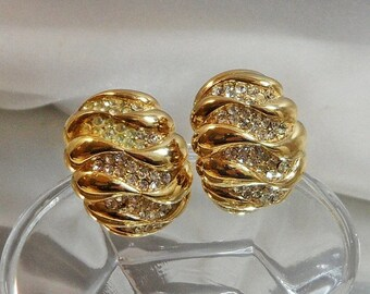 FALL SALE Vintage Rhinestone Earrings. Bold Gold Plated. Showstopper. Clear Rhinestones.
