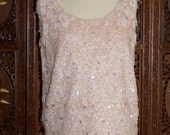 ON SALE 1960s Baby Pink Beaded & Sequins Wool Evening Tank Sz L