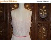 ON SALE 1950s Vanity Fair Pink Chiffon Lace Lingerie Gown sz 38
