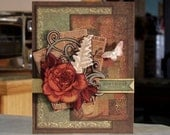 "Handmade 3-D Birthday Card - 6 1/2"" x 5"" - Rose Floral Paper Tole - Butterfly - Fern - Letterpress Vintage Style Papers"