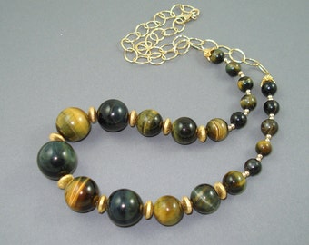 Tiger  Eye Necklace, Graduated Natural Tiger Eye Round Beads and 14K Gold Fill OOAK