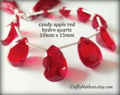 Clearance! CANDY APPLE Red Hydro Quartz Faceted Pear Cut Stone Briolettes, (1) Matched Pair, 10mm x 15mm, DIY jewelry supplies, earrings
