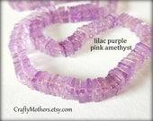 "LILAC PURPLE PINK Amethyst Smooth Square Heishi Beads, 5.5mm, 2"" Strand, natural gemstone beads, lavender, light violet pruple"