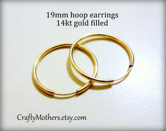 Take 15% off with 15OFF20, 14kt Gold Filled Hoop Earrings, 19mm, add a bead or dangle, DIY jewelry supply, precious metal- SELECT a Quantity