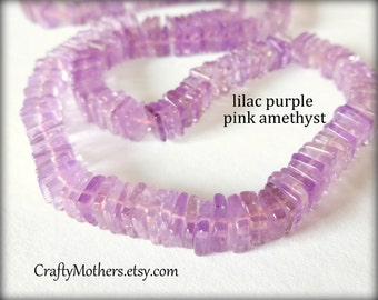 "27% SALE! (Code: 27OFF20) LILAC PINK Amethyst Smooth Square Heishi Beads, 5.5mm, 2"" Strand, natural gemstone beads, lavender"