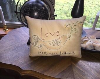 Primitive Valentine Love Bird  Stitchery Embroidery Pillow