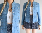 Denim Band Jacket Military Jacket Jean Jacket Denim Jacket 90s Grunge Marching Band Military Jacket 90s Clothing Vintage Military Jacket xs