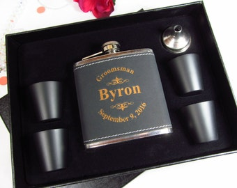 8 Personalized Leather Flask Gift Sets Groomsman Best Man Usher Father of the Bride Engraved Wedding Keepsake Black Leather