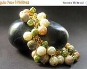 VALENTINE SALE Pearl Bracelet. Gemstone Bracelet. Charm Bracelet in Green - Forest Glen Cluster Bracelet. Handmade Bracelet.