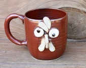 Pottery Chicken Mug in Red. Extra Large Hot Tea Mug. Funny Face Coffee Cup. Comical Rooster Mug. Funny Farmhouse Kitchen.