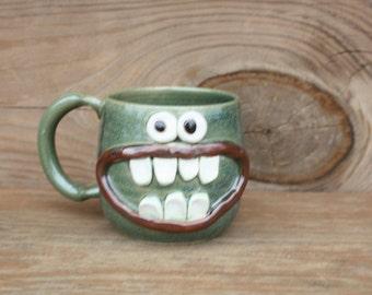 Valentines Day Love Mug. Big Smiley Face Mug. Frosty Green Stoneware Coffee Cup. Large 16 Oz Ceramic Clay Pottery Stein. Ug Chug Face Mug.