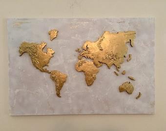 Gold world map canvas etsy large original world map painting world map map art globe painting world map canvas painting 3d sciox Gallery