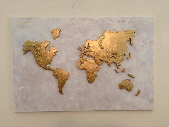 LARGE Original World Map Painting World Map Map Art Globe - Large world map painting