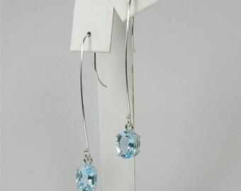 Sky Blue Topaz 9x7mm 4.50ctw Sterling Silver Dangle Earrings