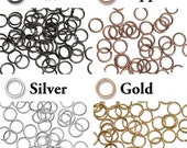 TierraCast 8mm ID Round Open Jump Rings - 18 gauge - plated brass - choose from black, antique copper, gold or silver