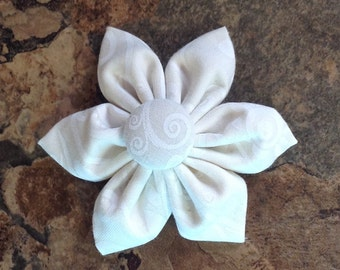 Fabric Flower Hair Bow with Alligator clip - cream and white