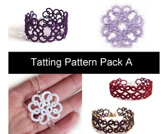 PDF Four Original Tatting Patterns - Pack A - Instant Download