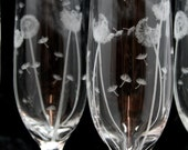 Pair of Dandelion Champagne Glasses, Engraved to Order