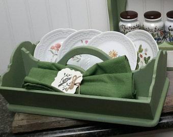 FARMHOUSE VINTAGE green silverware basket for napkins and utensils