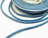 Blue cord, light blue cotton cord, light blue cotton rope, blue wrapped cotton cord, 3,5mm cotton rope, (1m)