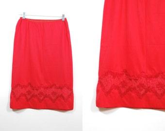 Vintage 50's Red half Slip Lingerie Size S / M Lace satin Applique