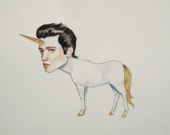 Elvis as a sad unicorn