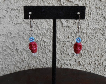 Skull Flower Earrings