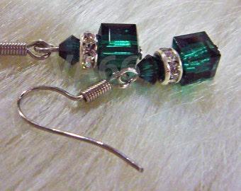 Bridal Diamond Swarovski Crystal Cube n Bicone Earrings Emerald 21 Color Choices 925 Sterling Silver Choice Bridesmaid, Prom,  Minimalist