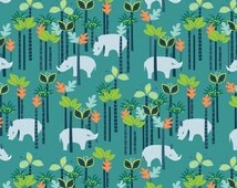 SundaLand Jungle Fabric by Blend Small Baby Rhinos In a Tropical Flower Forest on Teal Blue Green