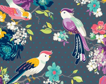 Adorn It Gigi Blooms Fabric Hello Birdie Multicolor Birds Flowers and Roses on Charcoal Gray Black