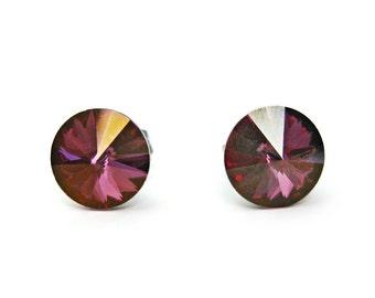 Purple Gold Rivoli Stud Earrings, Plum Crystal Post Earrings, 8mm Swarovski stud Earrings, Stainless Steel Post Earrings, Bridal earring