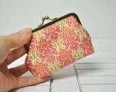Coin Purse -  Ivory Gold and Pink Flowers