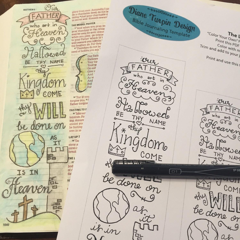 bible journaling verse art featuring the lords prayer