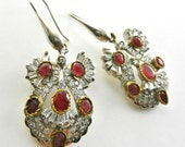 Glamorous Deco Ruby and crystals dangling long earrings - ITALY brand 925 silver pin earrings - fascinating Art Deco remake -- Art.96/4 -