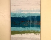"""large modern colorful abstract painting- """"Beach Dream"""" - blue green teal neutral- custom sizes and color schemes available"""